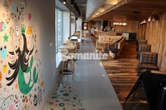 Our colleague, Musselman & Hall Contractors, installed this stunning Bomanite Modena SL decorative concrete overlay in coordination with a Starbucks artist who utilized a portion of the floor as a canvas to paint this fun, colorful mural and the collaboration created and interplay of color and elegance that showcases the flexibility and decorative nature of Bomanite architectural concrete.