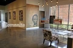 Bomanite Patene Teres custom polished concrete was installed here to provide a highly durable flooring surface that adds beautiful, distinctive character as well as warmth and elegance to this gallery space.