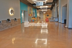 The Bomanite Patene Teres Custom Polishing System was used here to create a flooring surface that is extremely durable with distinctive design detail that adds beautiful depth and warmth to this space.
