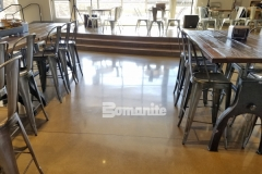 This stunning decorative concrete flooring was created using the Bomanite Patene Teres Custom Polishing System adding the perfect finish to complement the contemporary design of this church gathering space.