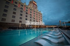 This stunning Bomanite Alloy architectural exposed concrete pool decking was installed at the Hard Rock Hotel & Casino Tulsa to add a distinctive design element and provide the perfect slip resistant, durable, low maintenance surface for this well-known gaming hotel.
