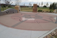 Natural non-skid properties and abrasion resistant aggregates made Bomanite Sandscape Texture decorative concrete the ideal choice to create the beautiful and durable hardscape surfaces featured throughout Centennial Center Park.