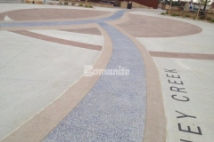 The decorative concrete craftsmanship of our colleague Premier Concrete Services is beautifully showcased throughout Centennial Center Park, which features several Bomanite Systems including Bomanite Imprint Systems, Bomanite Sandscape Texture, and Bomanite Revealed, all of which add intricate detail and distinct design features.