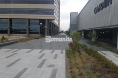 Sandscape Texture by Bomanite was combined with gradient colors of gray Bomanite Con-Color to create a decorative concrete surface with color, pattern, and texture while adding beautiful visual appeal to the hardscape.