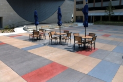 Featured here is Bomanite Sandscape Texture decorative concrete that was installed with a detailed stain pattern to create visual interest while maintaining visual continuity throughout the space.