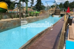This stamped concrete hardscape features the Bomanite Bomacron Boardwalk pattern that was chosen to simulate wood planking and adds beautiful texture and dimension while providing durability across the lifeguard walk at this outdoor water park.
