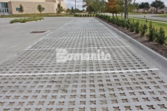Bomanite Grasscrete was installed here using biodegradable Molded Pulp Formers and crushed stone to fill the voids, creating a pervious pavement surface that allows for proper stormwater drainage as well as a decrease in the overall impervious percentage on the site.